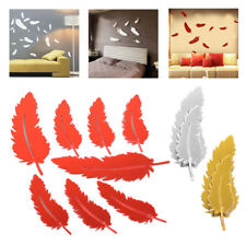8pc Creative Removable 3D Feather Mirror Wall Stickers Decal Art Home Decoration