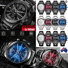 Men Waterproof Stainless Steel Analog Military Business Sport Quartz Wrist Watch