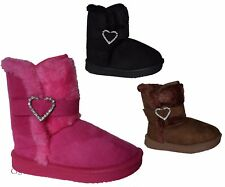 New Baby Toddler Girls Suede Boots Shoes Heart Rhinestones Faux Fur Gift Sz 3-8