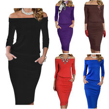 Autumn Winter Women's Slim Fit Long Sleeve Off Shoulder Casual Cocktail Dresses