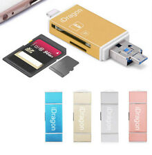 iDragon 3in1 USB Micro SD SDHC SD TF OTG Card Reader exFAT Writer for iPhone ...