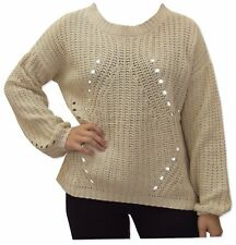 Womens Holey Open Knit Hole Jumper Long Sleeve Ribbed Sweater Pullover - 2785