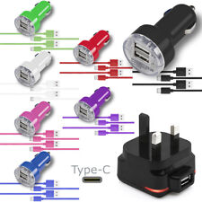 1 AMP USB Mains Plug Dual Car Adapter 2 TYPE C Cable For Asus Zenfone AR ZS571KL