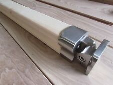Oak Handrail + 2 Brushed Rail to Newel Post Connectors Select length and Timber