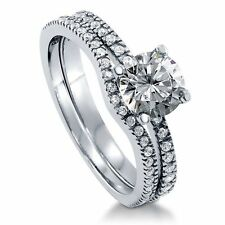 Sterling Silver 1.27 ct.tw Round Cubic Zirconia CZ Solitaire Engagement Wedding