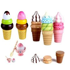 Ice Cream Food Toy Play Pretend Magnetic Kids Kitchen Wooden Toy Play House Gift