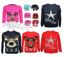 Kids Childrens Boys Girls Christmas Jumper Xmas Sweater Knitted Retro Pullover
