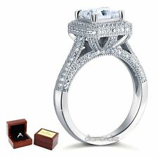 Sterling 925 Silver Vintage Engagement Ring 1.5 Ct Princess Lab Created Diamond