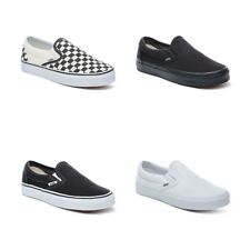 New Vans Slip On Shoes Classic Black White Canvas Women Sneakers All Sizes NIB