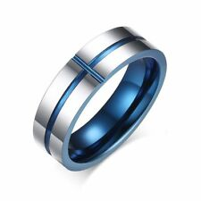 Sz 7/8/9/10/11/12 Blue Cross 6MM Silver Band Tungsten Steel Men's Wedding Ring