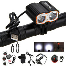 Rechargeable 8000LM 2X XM-L T6 LED USB 5V Bicycle Light Bike Headlight Battery