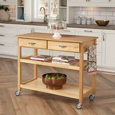 Wood Kitchen Island Cart Rolling Top Storage Utility Drawers Shelves Towel Bar