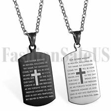 Stainless Steel Men's English Bible Verse Dog Tag Cross Pendant Necklace Gift