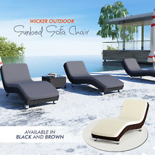 Black/ Brown PE Wicker Outdoor Sunbed Sofa Lounger Chair Patio Deck Furniture