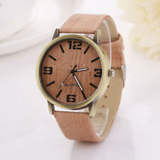 Wooden Unisex Wristwatch Quartz Casual Wooden Color PU Leather Strap Analog New