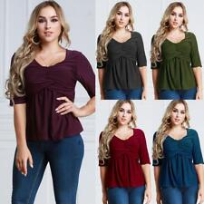Women Solid T Shirt V Neck Ruched Plus Size Blouse Slim Casual Tee Tops U6N2