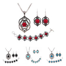 SS Tibetan Silver Women Bracelet Necklace Dangle Earrings Turquoise Jewelry Sets
