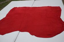 Red suede split Double Butt Calfskin Leather pieces Soft pliable Cowhide
