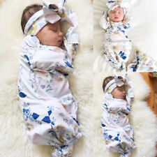 New Hot Baby Floral Hat Bow Tie Printing Flowers Blanket Swaddle Headband Set