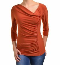 Last Tango Side Gathered Ruched Blouse Flattering Top Stretch Asymmetrical Shirt
