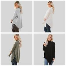 New Casual Long Sleeve Sweater Womens HighNeck Knitwear Pullover Jumper Top U4C0