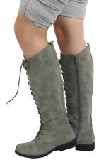 BNIB LADIES GREY CALF MILITARY COMBAT BOOTS SIZE 3-8