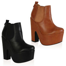 NEW WOMENS PULL ON PLATFORM LADIES CUT OUT WEDGE HEEL ANKLE BOOTS SHOES SIZE 3-8