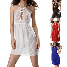 Women See Through Sheer Lingerie Backless Halter Dress G-String Nightwear Outfit
