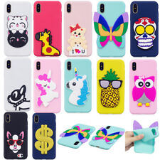 3D Cartoon Protective Silicone Soft TPU Rubber Back Case Cover For Apple iPhone