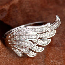 Silver Plated Ring New Fashion Finger Band Cubic Zirconia Wing Sz 6 7 8 9 10