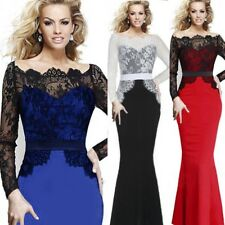 UK Womens Lace Long Sleeve Ballgown Ladies Evening Party Cocktail Maxi Dress