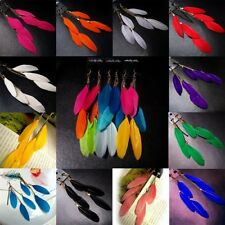 1 Pair Women Handmade Jewelry Hook Drop Dangle Goose Feather Earrings Party Gift