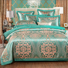 Blue Royal Floral Satin Jacquard Egyptian Cotton Queen King Size Quilt Cover Set