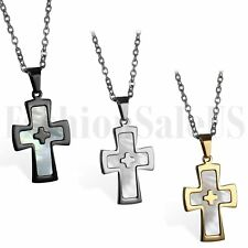 Polished Men's Stainless Steel Black Gold Silver Tone Cross Pendant Necklace New