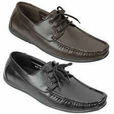 Mens Faux Leather Big Size Brown Smart Casual Lace up Boat Deck Shoes UK Size