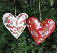 Holly Mistletoe Tin Heart Christmas Tree Decoration Ornament Gisela Graham