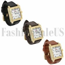 Luxury Men's Army Infantry Square Dial Watch Quartz Leather Sport Wristwatches
