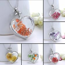 Silver Nature Dried Flower Heart Shape Glass Locket Chain Pendant Necklace Gift