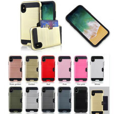 Slim Sleek Case with ID Credit Card Holder Cover For Apple iPhone X 6 7 8 Plus