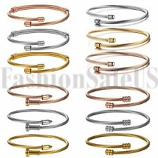 Women's Girl's Stainless Steel Twisted Cable Wristband Bangle Bracelet Cuff 3pcs