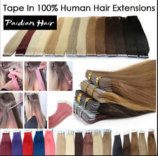 NEW 16-26inch Full Head 100% Remy PU Tape in Human Hair Extensions Skin Weft