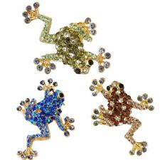 Cute Rhinestone Crystal Frog Animal Gold Tone Brooch Pins Unisex Party Jewelry