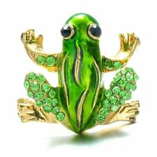 Christmas Green Frog Animal Rhinestone Crystal Brooch Pin Xmas Party Jewelry New