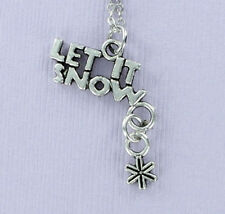 Let It Snow Necklace - Pewter Charm on Chain Winter Ski Snowboard Snowflake NEW