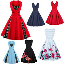 Plus Size Women Sleeveless Swing Dress 50s 60s Evening Party Retro Vintage Dress