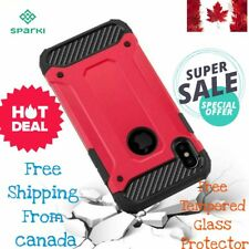 Apple Iphone x case shockproof 2 in 1 case free tempered glass screen protector