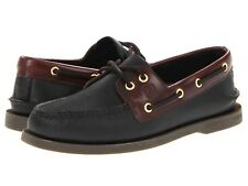 NEW Mens SPERRY TOP-SIDER Black/Amaretto Brown A/O AUTHENTIC ORIGINAL Boat Shoes