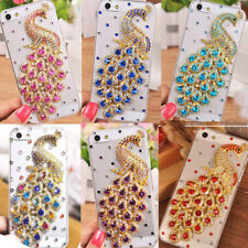 For iPhone 4S 5S SE Crystal Peacock Handmade Diamond Luxury Bling Case Cover T