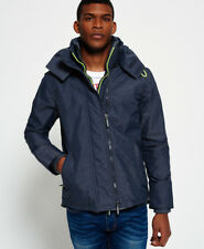 New Mens Superdry Pop Zip Hooded Technical Windcheater Jacket Navy Marl