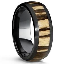 Black Titanium Wedding Band Ring with Real Zebra Wood Inlay, 8mm Dome, Comfort